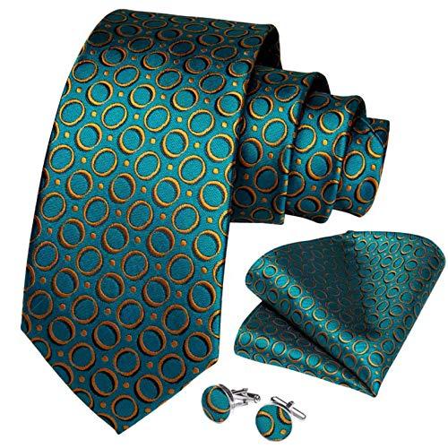 GPZFLGYN Corbata para hombre, conjunto de anillos, gemelos, verde azulado, punto dorado, seda, tejido, boda, negocios, fiesta, corbata, corbatas