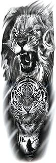 Large Arm Sleeve Tattoo Sketch Lion Tiger Waterproof Temporary Tattoo Sticker Wild Animal Men Bird Totem Tattoo,A01