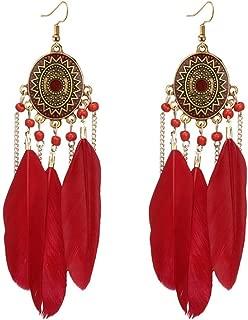 Beuu Trend women Long feather earrings Dream catcher Earrings Ear hook Boho style