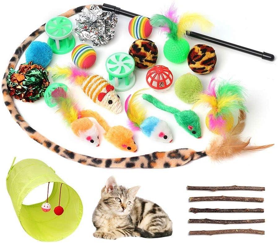 Juguetes para Gatos, 26 Piezas Juguetes Gato Interactivo para Gatos Kitty Juguetes para Gatos con Plumas túnel, Ratóns y Bolas Varias para Gatos