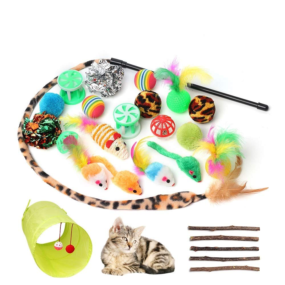 Juguetes para Gatos, 26 Piezas, Juguetes Interactivos para Gatos con Túnel de Gato Esponjoso Ratón, Bolas de Ratón, Juguetes y Palos de Hierba Gatera Molar: Amazon.es: Hogar