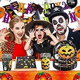 Halloween Party Zubehör Halloween Deko Set, Partygeschirr Set mit Papptelle, Pappbecher, Banner, Servietten, Halloween Party Dekoration fur Kinder, Grusel Party, Garten - 6