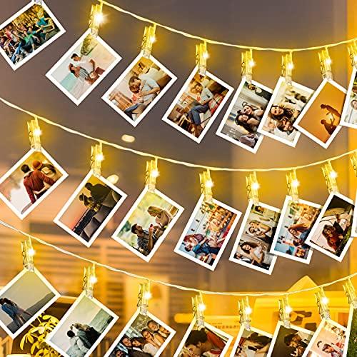LED Fotoclips Lichterkette,6M 40LED Lichterkette mit 40 Klammern für Fotos,USB/Batteriebetrieben Lichterkette Bilder Dekor für Außen/ Innen,DIY Fotowand für Zimmer,Weihnachten,Hochzeit,Party
