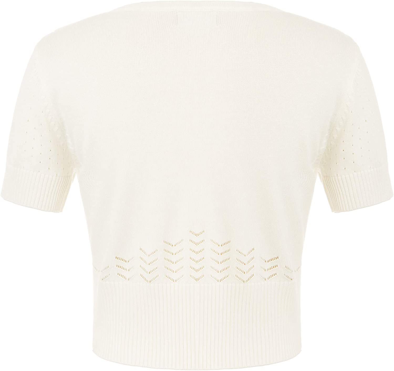 KANCY KOLE Women's Soft Basic Crew Neck Short Sleeve Cropped Bolero Cardigan Sweater