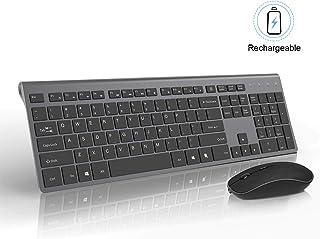 Rechargeable Wireless Keyboard and Mouse Combo-J JOYACCESS Portable Ergonomic Full Size Keyboard and Mouse,2.4GHz Stable Connection,Silent Mouse for Desktop and Laptop-Dark Grey