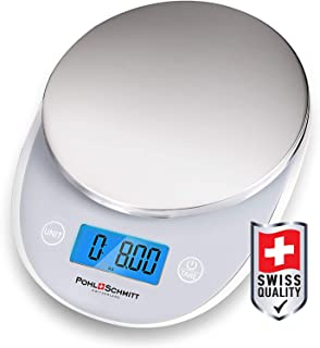 Pohl+Schmitt Digital Food Kitchen Scale, Multifunctional Weight Measuring for Cooking and Baking in Grams/Ounces, Auto Shut-Off, Stainless Steel (Batteries Included)