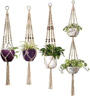 Mkono 4 Pcs Macrame Plant Hangers Indoor Outdoor Hanging Planter Basket Jute Rope Flower Pot Holder Boho Hippie Style