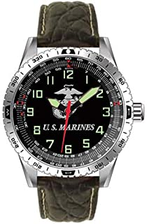 US Marines Military Performance Wrist Watch w/ Padded Genuine Leather Strap