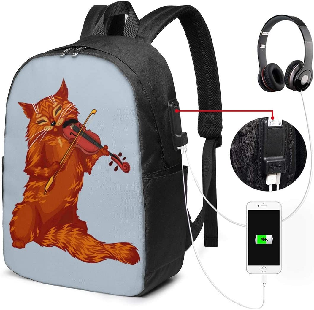 Cat Playing Violin 17 Inch Backpack Unisex Backpack with USB Charging Port