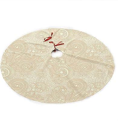 Alldelete Christmas Tree Skirt Jupe Arbre De Noel Modele De Renaissance De La Nature Retro Avec Lotus Mandala Inspire Elements Spirales Curls 91cm 36in Amazon Fr Cuisine Maison