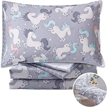 FlySheep 4 Piece Gray Grey Toddler Bedding Set with Multi Animals Printed for Baby Boys Fitted Sheet /& Pillow Case Includes Quilted Comforter Hypoallergenic /& Soft Flat Sheet