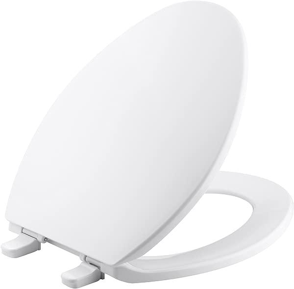 科勒 K 4774 月 Brevia 长形白色马桶 Seatwith 快拆铰链和快速安装硬件,便于清洁