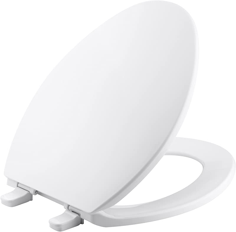 KOHLER K 4774 0 Brevia Elongated White Toilet Seatwith Quick Release Hinges And Quick Attach Hardware For Easy Clean