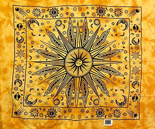 Telo Arredo Copritutto Grande Etnic Sun 210x230 cm 100% Cotone Indiano Stampato Copri divano Gran foulard con Frange Batik Indiano (Giallo)