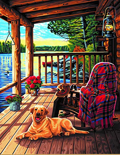 Dimensions Paint by Numbers-Log Cabin Porch Juego de arte PaintWorks, varios, Tallas