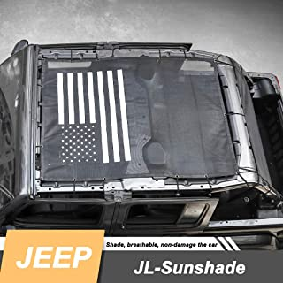 Drizzle Front Eclipse Sunshade Mesh Shade Bikini Top Cover with USA Flag Provides UV Sun Protection for 2018 2019 Jeep Wrangler JL JLU 4 Door Soft Top (JL-Blackflag, 4-Door)