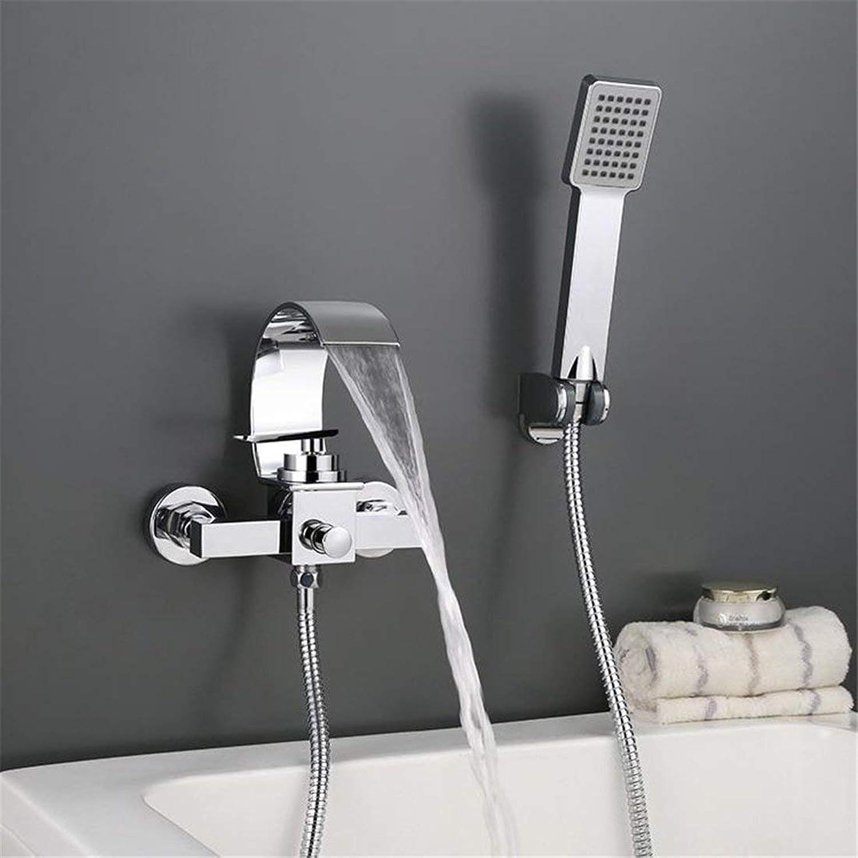 Willsego Dusche Badezimmer Badewanne Warm und Kalt Wasserhahn Wasserhahn Hand-Held Wandmontage Versteckte Wasserfall Wasserhahn (Farbe   -, Gre   -)