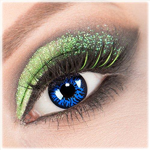 Farbige blaue schwarze 'Blue Demon' Kontaktlinsen 1 Paar Crazy Fun Kontaktlinsen mit Behälter zu Fasching Karneval Halloween - Topqualität von 'Giftauge' ohne Stärke