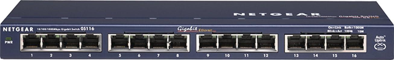 NETGEAR アンマネージ スイッチングハブ 16ポート 卓上型コンパクト ギガビット 静音ファンレス 省電力設計 法人向け GS116 GS116-200JPS