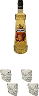 Puschkin Cinnamon 0,7 Liter  Wodka Totenkopf Shotglas 2 Stück  Wodka Totenkopf Shotglas 2 Stück