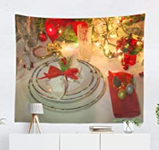 Darkchocl Classy Tapestry, Decorative Tapestry Classy Christmas with Luxury Poinsettia Flower and Ornaments for Living Room Wall Hanging Tapestry 50 L x 60 W Classy Christmas 03