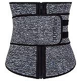 ANGOOL Néoprène Sweat Waist Trainer Corset Trimmer Ceinture pour Femmes Perte de Poids, Taille Cincher Shaper,Gris(zipper),Large