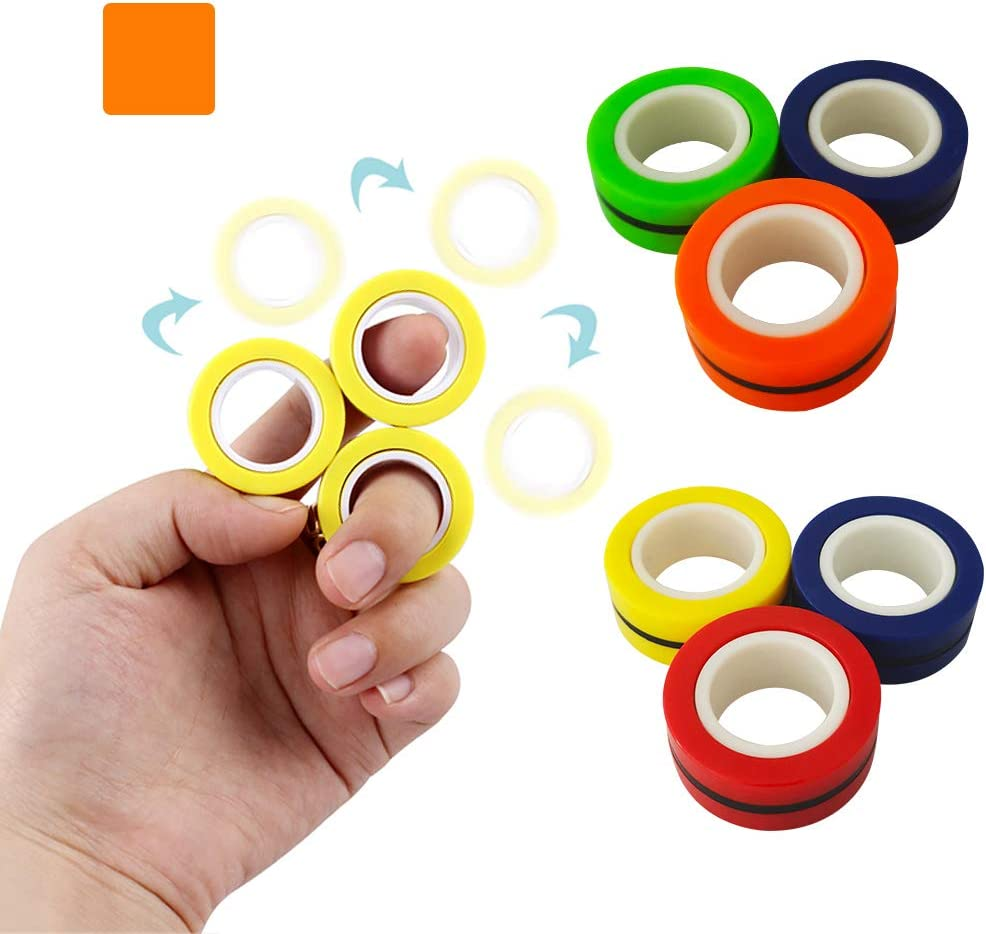 3pcs, Yellow Stress Relief Anxiety Relief Magic Bracelet Ring Decompression Unzip Toy for Adults ADHD Johomviin Finger Magnetic Rings Fidget Spinner Toy Anxiety and Autism Kids Figit Spinner