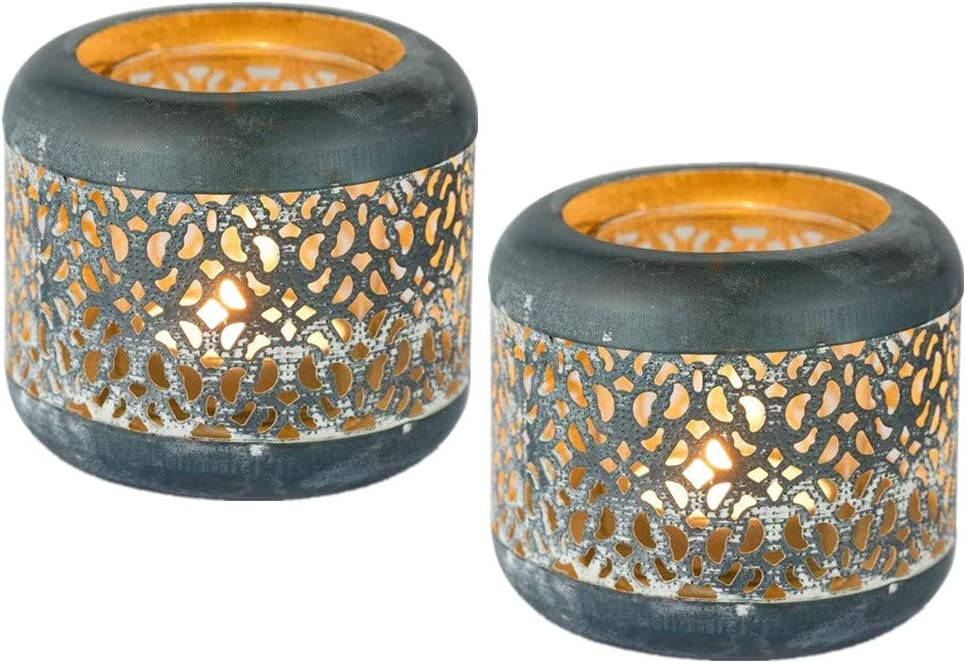 Sziqiqi Vintage Rustic Max 74% OFF Metal and Tea Light Glass Holder sale Hollow-