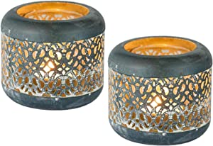 Sziqiqi 2Pcs Vintage Rustic Iron and Glass Tealight Holder, Hollow-Out Design, Irregular Pattern