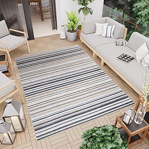 TAPISO Patio Tappeto Moderno Indoor Outdoor per Esterni Tappeto 3D Terazzo Ingresso Cucina Sala Multicolore Righe A Pelo Corto 140 x 200 cm
