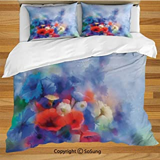 SoSung Watercolor Flower Home Decor King Size Bedding Duvet Cover Set,Hazy Paint of Nature Elements Botanic Floral Motives Artisan Decorative 3 Piece Bedding Set with 2 Pillow Shams,Red Blue