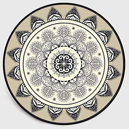 LXJJF Innenteppich Runden Teppiche Fußmatten Badteppich Mats Teppich Läufer Boden Teppich Haus & Küche 100% Natürliche Faser Geometrisch Abstrakt Mandala Wohnzimmer Waschmaschinenfest