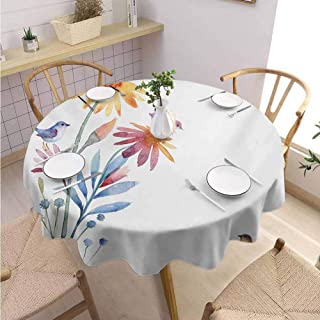 DILITECK Watercolor Beach Round Tablecloth Springtime Flowers with Birds Unusual Color Scheme Brush Effect Table Decoration Diameter 54