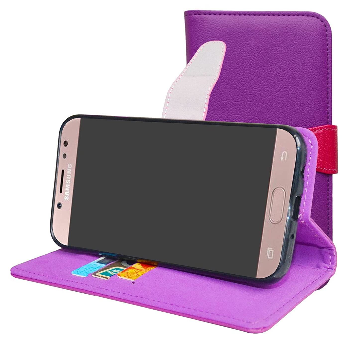 Galaxy J7 Pro J730G Case,Mama Mouth [Stand View] Premium PU Leather [Wallet Case] with Card Slots Cover for Samsung Galaxy J7 Pro J730G 2017 Smartphone,Purple