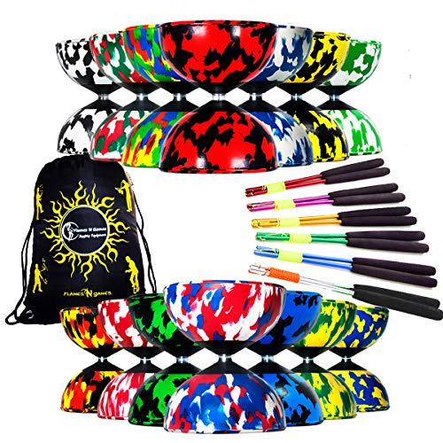 Mr Babache Harlequin Diabolo Pro Ingesteld & Aluminium Diabolostokken, Diabolo Koord + Diabolos Reistas. (Zwart/Rood + Zilver Hand Sticks)