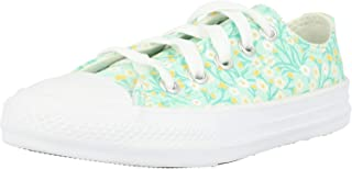 Converse Chuck Taylor All Star Ditsy Floral Ox Ocean Mint/White/Topaz Gold Canvas Junior Trainers Shoes