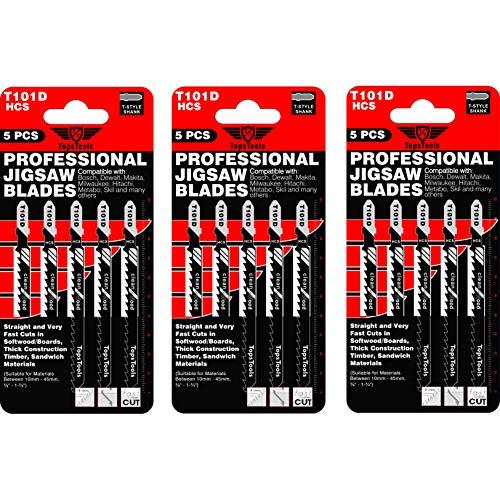 15 x TopsTools T101D Stichsägeblätter für Bosch, Dewalt, Makita, Milwaukee und viele mehr