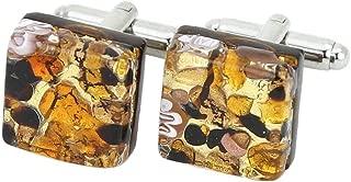 Murano Glass Venetian Classic Square Cufflinks - Topaz Gold
