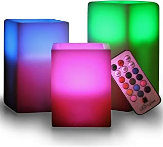 LED Lytes Flameless Candles Set of 3 Square Ivory Wax with Flickering Color Changing Flame, auto-Off Timer Remote Control for Christmas Home Decor and Gifts
