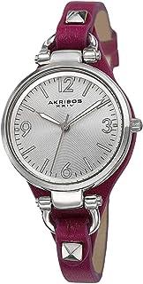 Akribos XXIV Impeccable Women's Silver Dial Leather Band Watch - AK761PU, Analog, Swiss Quartz