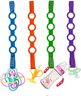 4PK Toy Safety Straps, Stretchable Silicone Pacifier Clips Baby Toddler Bottle Toy Harness Straps for Strollers, High Chair, Shopping Trolley,Cars,Hanging Baskets,Cribs,Bags