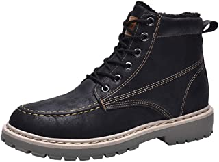 Naisidier Men Ankle Boots Warm Cotton Plush Lining Winter Boots with PU Leather Lace Up Snow Boots for Climbing
