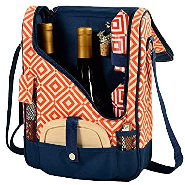 Picnic at Ascot  Wine and Cheese Cooler Bag Equipped for 2 with Glasses, Napkins, Cutting Board, Corkscrew , etc.  - Orange/Navy