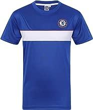 Chelsea FC Official Gift Mens Poly Training Kit T-Shirt Royal White Stripe Large