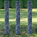 [pro.tec] Säulen - Gabionen 3er-Set (Grundriss viereckig - 25cm) (3x 200 cm hoch) Steingabionen/Spalier /