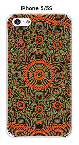 Onozo Carcasa Apple iPhones 5/5S Design Mandala rosetón Bicolor Naranja & Verde
