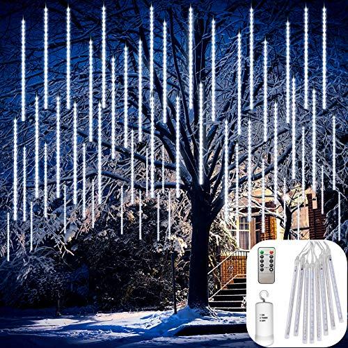 DreiWasser Aufgerüstet Meteorschauer Regen Lichter Batteriebetrieben, 30cm 8 Tubes 144 LEDs Schneefall Lichterkette Deko für Garten/Party/Weihnachten (Weiß)