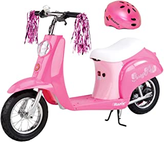Razor Pocket Mod Miniature Euro 24V 250W Kids Electric Powered Scooter & Helmet, Sweet Pea Pink