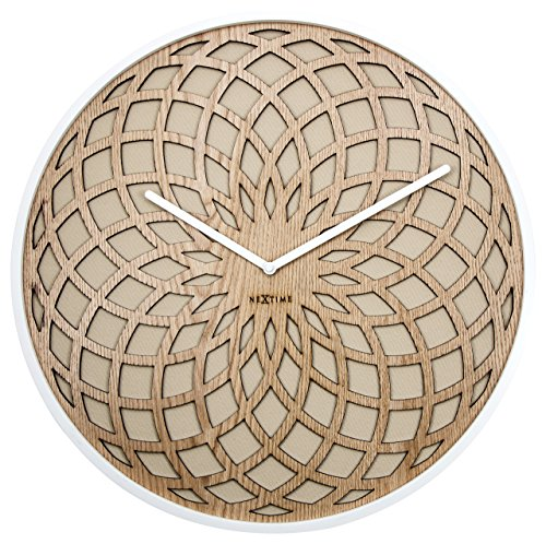 "NeXtime Wanduhr \""SUN SMALL\"", lautlos, rund, aus Holz, ø 35 cm"
