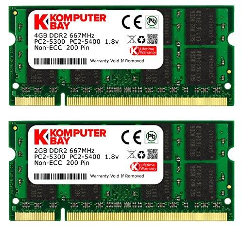 Komputerbay Arbeitsspeicher 6GB Kit (4GB und 2GB Module, PC2-5300, 667MHz, 200-polig) DDR2-SODIMM für HP Compaq Presario